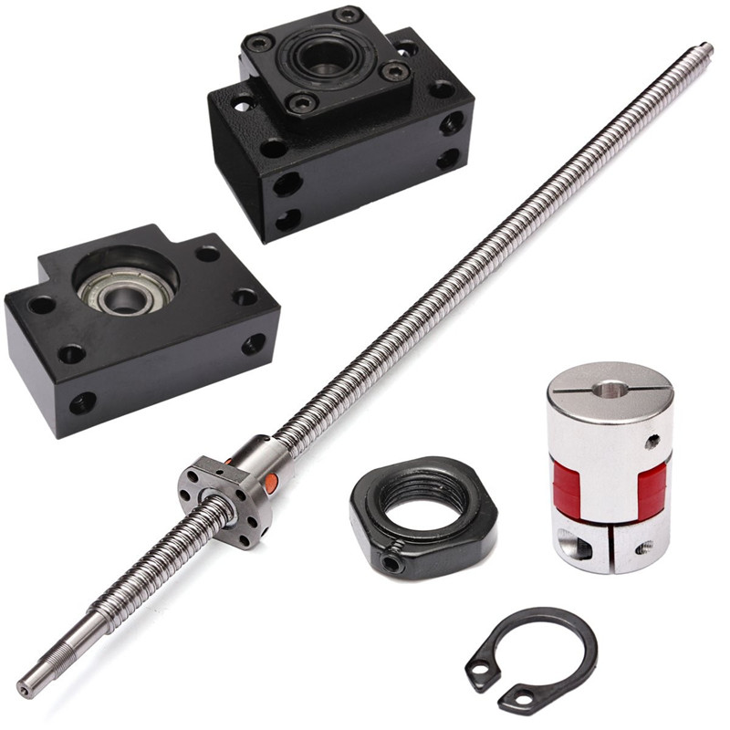 SFU1605 L650mm Rolled Ball Screw C7 Stainless steel + Locknuts + Circlip + For BK/BF12 End Support + Coupler