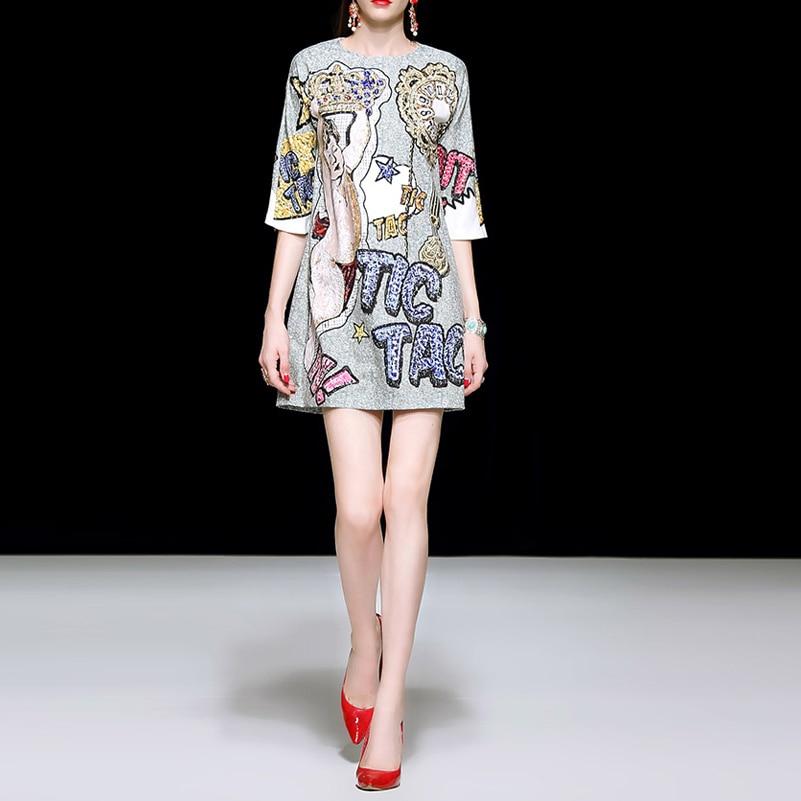 Wysoka jakość 2019 wiosna/lato vestidos projektant sukienka w stylu Vintage moda drukuj 3/4 rękaw zroszony diamenty luźne na co dzień kobiety sukienka w Suknie od Odzież damska na  Grupa 1