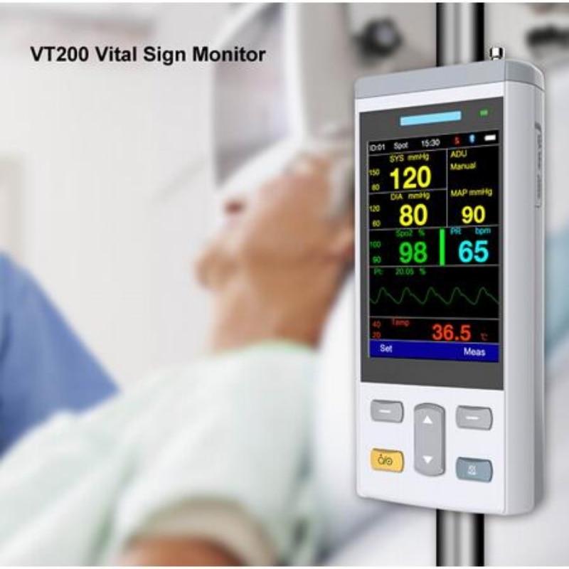 Самый маленький 3,5 дюймов цветной TFT Портативный жизненный знак монитор Пульсоксиметр с Spo2, NIBP, TEMP Clinic/Homecare использовать медицинский монитор