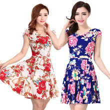 B Summer Women Floral Print Short Sleeve V Neck Slim Casual Sundress Plus Size Beach Dress Bohemian Style Clothe S-4XL