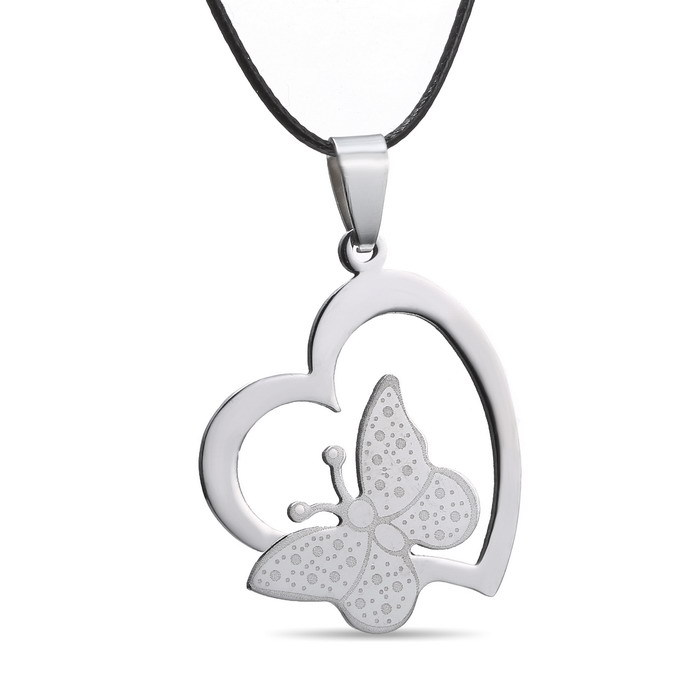 Leather Chain for men women Jewelry wholesale Heart Pendants hot Hollow Butterfly heart 316L Stainless Steel pendant necklaces