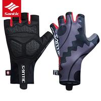 Santic Cycling Gloves Half Finger Shockproof Non slip Unisex Outdoor Sports Skiing Touch Road Cycling Motorcycle Racing Glovers