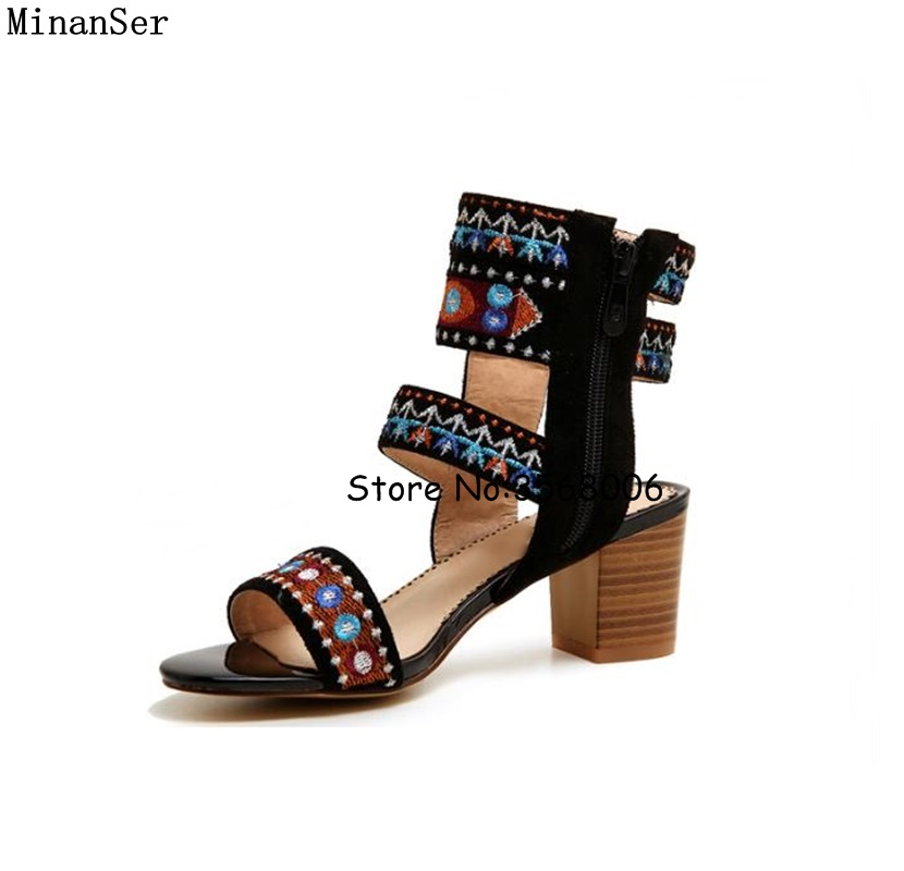 Embroidery Retro Women Chunky Heels Open Toe Sandals Ankle Wrap Rome Designed Suede Lady High Heels