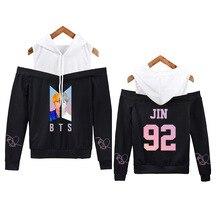 Kpop a casa para BTS JIMIN V JUNGKOOK moda empalme Off-the-hombro Sudadera  con capucha versión coreana chica larga de las mujere. ababc6c4747