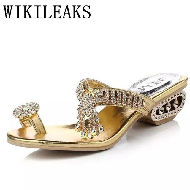 335ae912f830 Gold Silber Strand Schuhe Frauen Strass Sandalen Designer Version Sommer  Schuhe Slides kristall sandalen hausschuhe flip