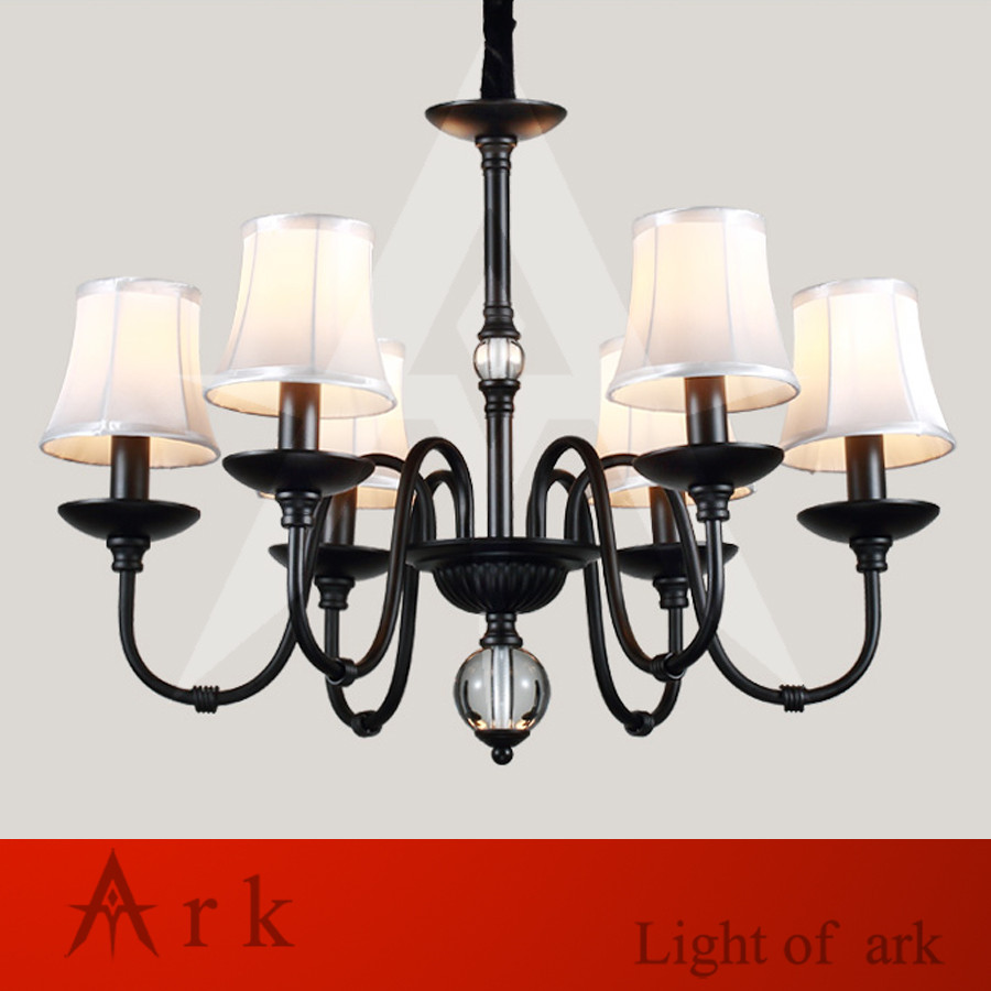 ARK LIGHT iron art minimalist rural Nordic restaurant bedroom led European-style chandelier black color 6 heads light ark benefit u2 dual black