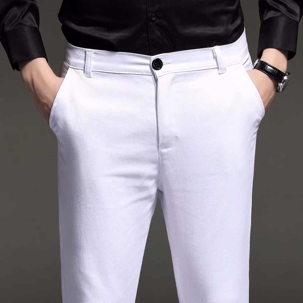 新 2019 メンズスリムフィットビジネス男性スーツパンツ足首の長さの男性の夏の正式なスーツのズボン、黒白青