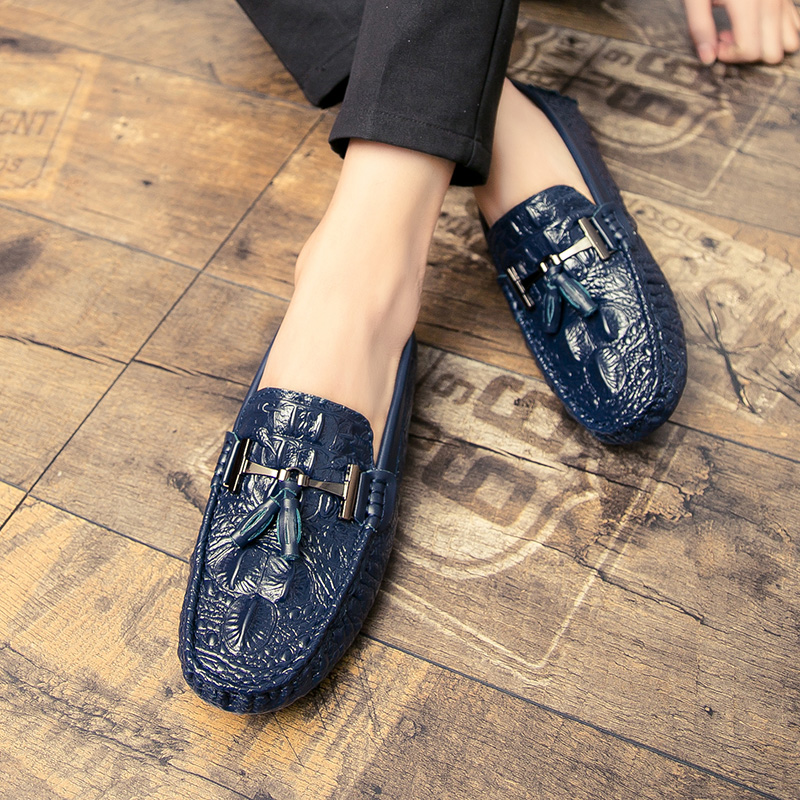 Mens Driving Loafers 2019 Men Spring Autumn Fashion Boat Shoes Moccasin Men's Loafer Casual Soft Driving Shoes Man Footwear Blue