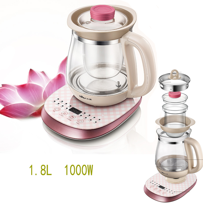 15%JA41 Electric Glass Health Preserving Pot Thermal Insulation Flower Teapot Brewer with Filter Micro Computer Control 1.8L цены онлайн