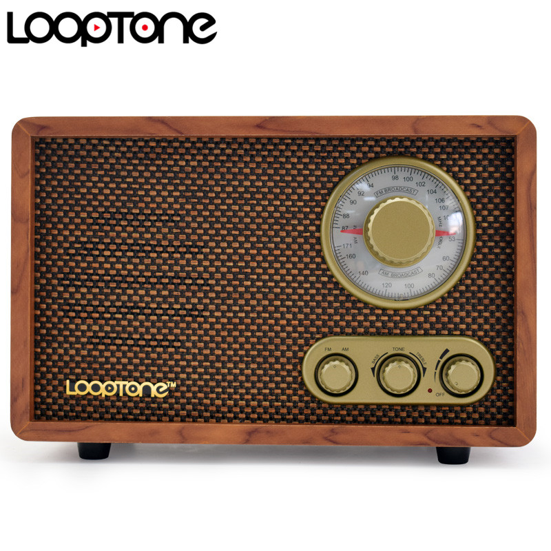 radio hi fi de table looptone de table radio retro vintage retro avec haut parleur integre controle du bois treblebass