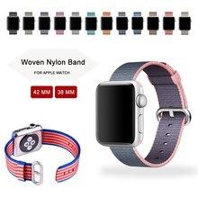 Nueva llegada de nylon correa para apple watch band banda de nylon con adaptador integrado, para apple watch banda de nylon 42mm/38mm