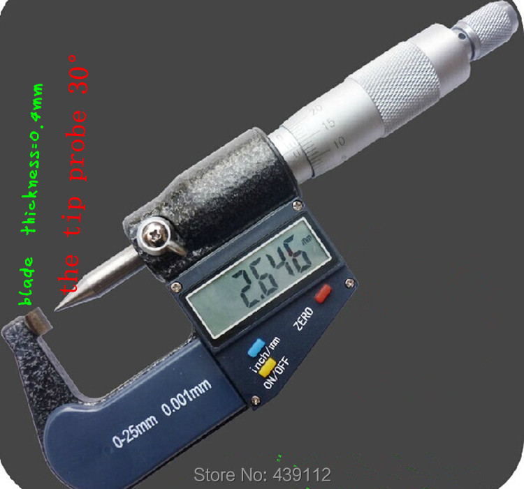 Digital Single Point Micrometers.Electronic blade micrometer 0-25mm.Electronic pointed blade tip probe 30 degree цены