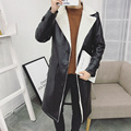 2017 Men's Winter Long Lamb Fur Leather Coat Men Fashion Young Single Breasted Warm Overcoat Mens Runway Style Fur Long Coat