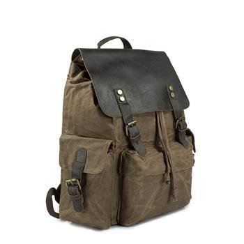 Vintage Men Classic Fashion Wax Waterproof Canvas Travel Backpack European Style Retro School Student Teenager Rucksack Bookbag