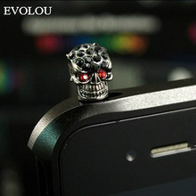 Universal 3.5mm personality skull diamond Mobile Phone Ear Cap Dust Plug For Iphone Samsung LG Headphone Plugs Phone Accessories enkay universal 3 5mm diamond tortoise design anti dust ear cap plug