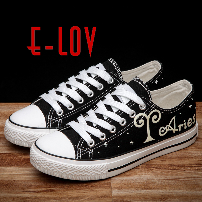 E-LOV Hand-Painted ARIES Constellation Saittarius Noctilucence Personalized Casual Shoes Luminous galaxy Shoes Canvas Shoes