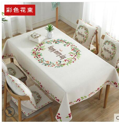 Nordic garden small fresh cloth cotton waterproof table cloth square round table coffee table tablecloth rectangular tablecloth
