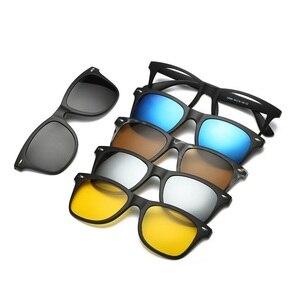 Image 3 - 새로운 브랜드 5 + 1 레트로 편광 된 근시 클립 선글라스 안경 프레임 남성 여성 5 자석 세트 미러 안경 프레임 남성