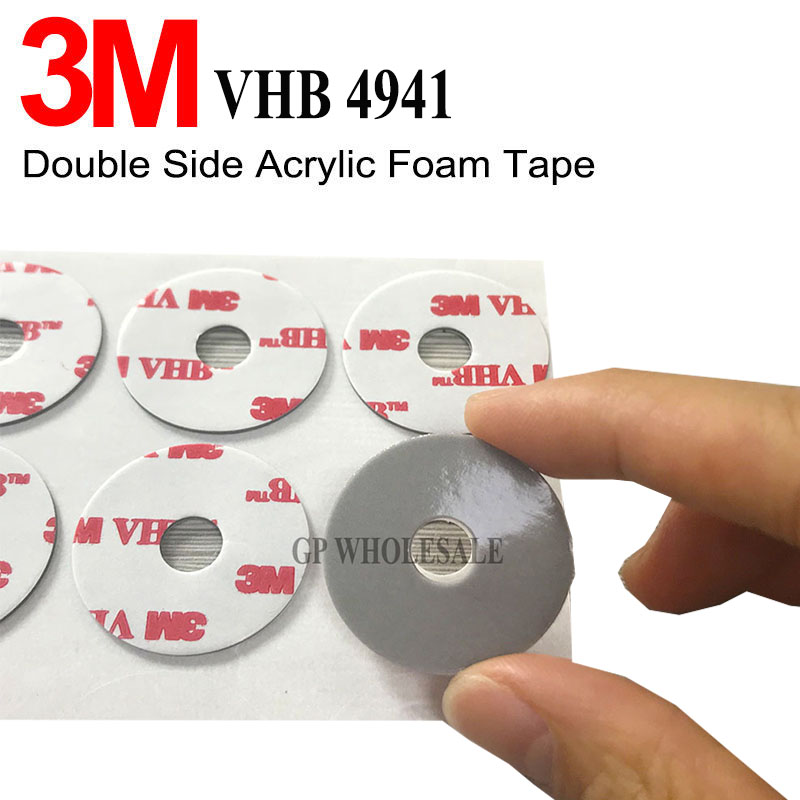 250pcs 3M VHB 4941 Strong self adhesive Double Sided Sticky Mounts Pads Washers Centre Hole For