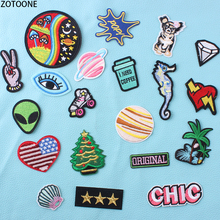 ZOTOONE Personality alien Expressions Patches for Clothes embroidery Sequin Patch Clothing Application Stickers Garment Badges E