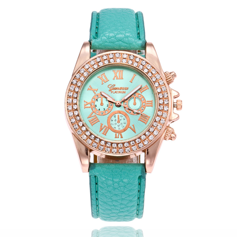 Relojes Para Mujer Geneva Watch Women Luxury Diamond Leather Quartz Wristwatch Ladies Watch Casual Fashion Clock Zegarek Damski