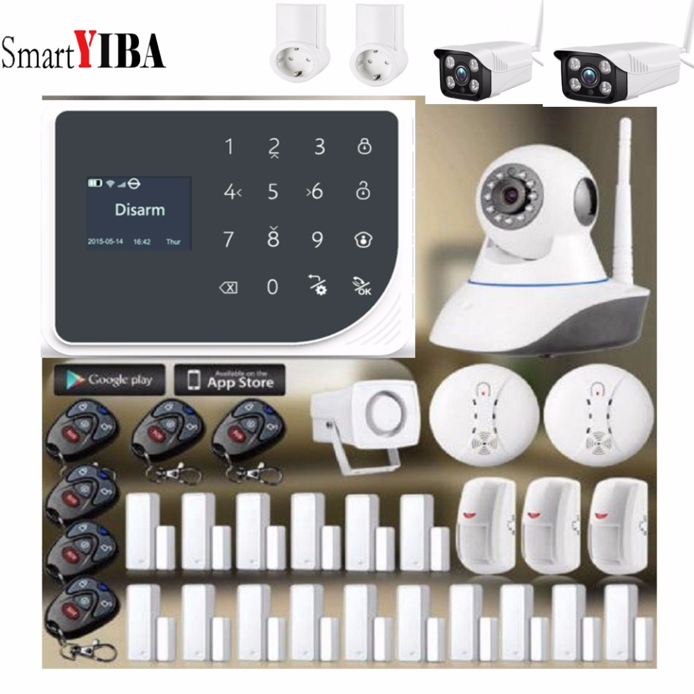SmartYIBA Wireless WIFI GSM Alarm System Android IOS APP Alarm Home Security Intruder Alarm Kits Video IP Camera Relay Output цена 2017