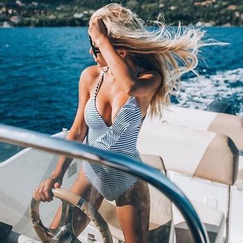 Monokini vestido de baño de una sola pieza rayas 1