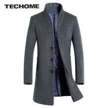 Мужчины Шерсть и Смеси Пальто Slim Fit Мужчины Средней Длины Пальто и Куртки Сплошной Цвет Мужской Манто Homme Пальто Зимой Шерстяные Пальто меня