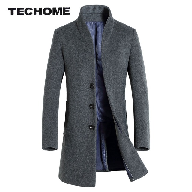 vente moins chère bonne texture livraison gratuite € 52.21 31% de réduction Hommes laine & mélanges Manteau Slim Fit hommes  moyen Long manteaux et vestes couleur unie mâle Manteau Homme pardessus  hiver ...