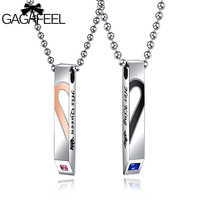 GAGAFEEL Engrave DIY Couple Heart Necklace For Lover A Pair King Queen Necklace Man Women Pendant