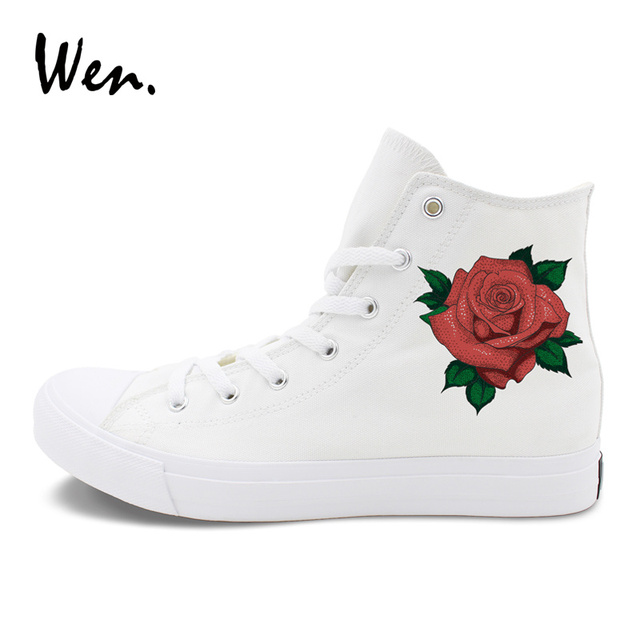Womens Skateboarding Shoes Canvas Flower Floral Pattern Sport Sneaker