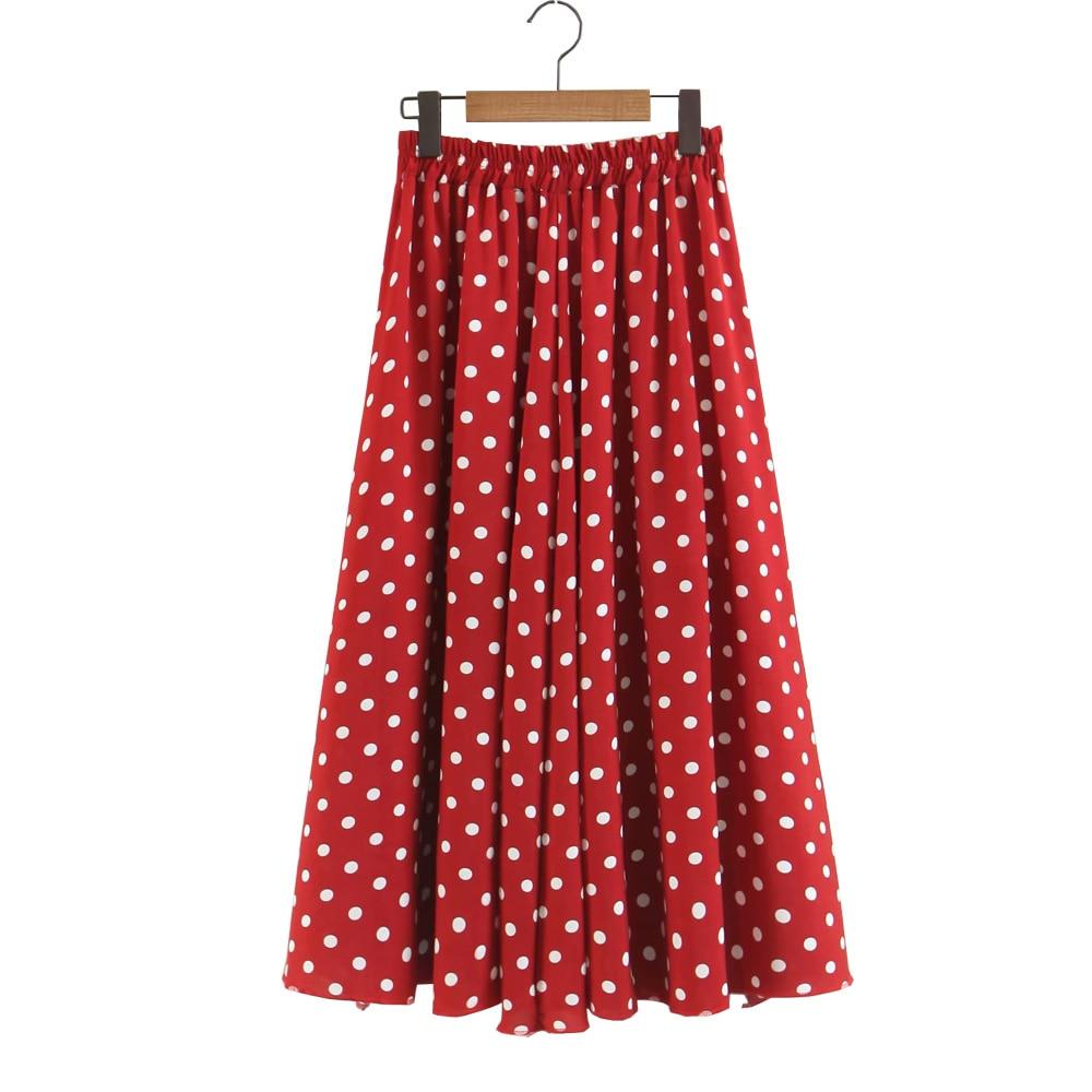 2019 Vintage Dots Print Women Summer Chiffon Skirt High Waist Long Skirts Saia Women Elegant Skirt Faldas Jupe Femme