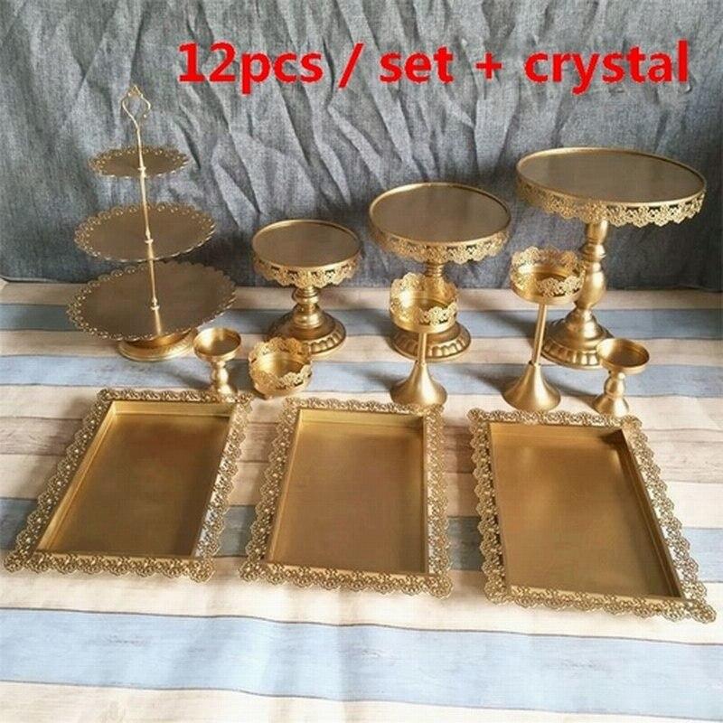 Set of 12 pcs gold cake stand wedding cupcake stands cryst fruit bar decoration cake tools bakeware set