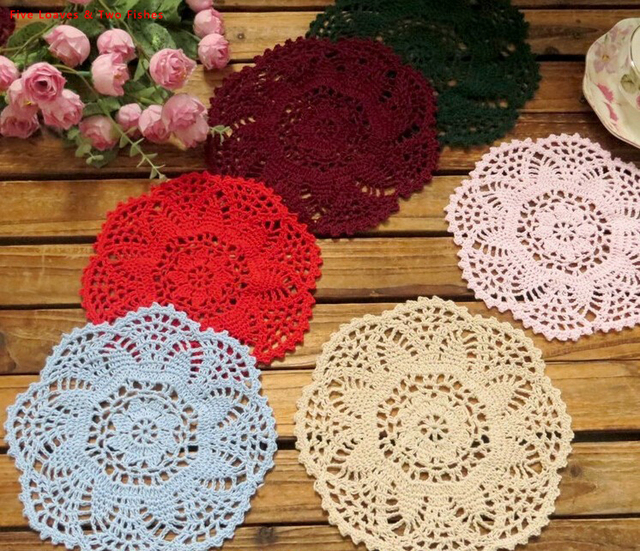 More Colors Mix Round 20CM Handmade Crochet Flower Placemats Cotton  Coasters Small Tableclothes Lamp Mat 20PCS