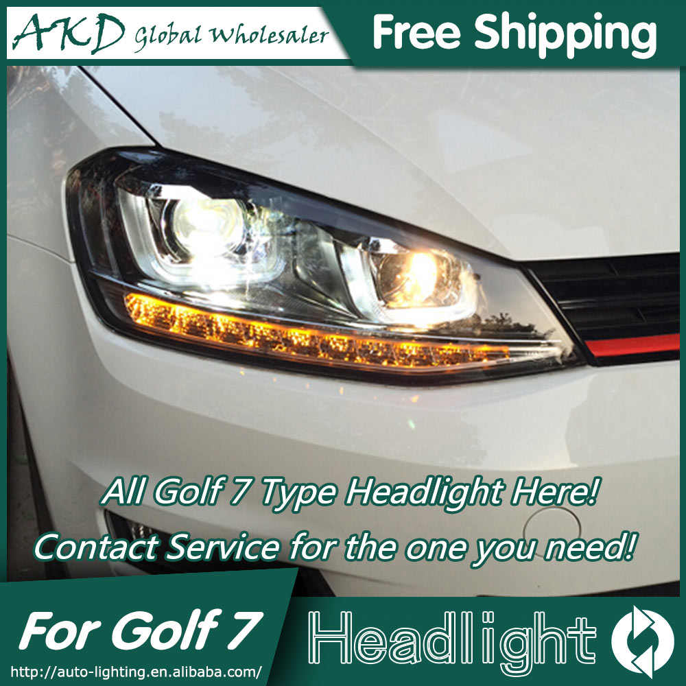 AKD Car Styling Head Lamp for VW Golf 7 LED Headlights 2013-2015 Golf7 Mk7 LED DRL Bi Xenon Lens High Low Beam Parking Fog Lamp auto pro vw golf 7 headlights q5 bi xenon lens led angel eyes drl vw golf mk7 head lamps car styling h7 xenon led light guide