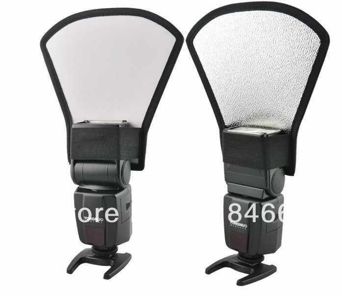 จัดส่งฟรีทั่วโลกแฟลชดิฟฟิวเซอร์ Softbox เครื่องสะท้อนแสงสีเงินและสีขาวสำหรับ 580EX นิคอน SB-600 Penta