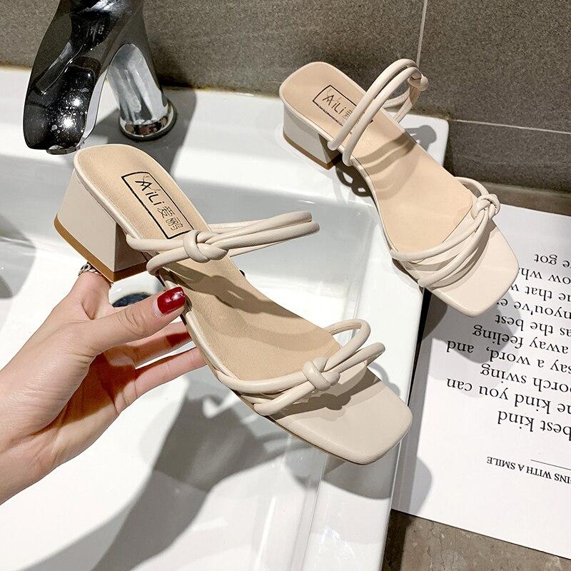 Classics Strap Slippers Women High Heels Slippers Ladies Summer Women Shoes 2019 New Sandals Women Fashion Slip On Heels Sandals in Slippers from Shoes