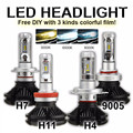 Car Headlights H7 LED H4 H11 9005/HB3 100W 12000LM 3 Color Temperature Auto Front Bulb Automobile Headlamp Kit Waterproof 6500K
