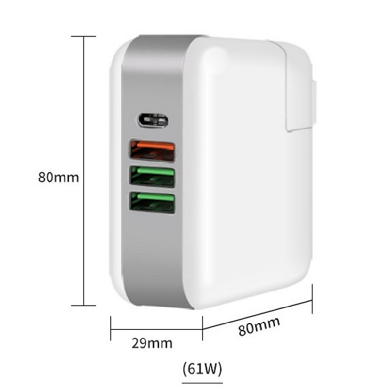 ipad iphone 61W PD Multiport Type-C Charger AC/DC Power Adapter QC3.0 Quick Charge Type-C Laptop Adapter For iPad iPhone MacBook Pro (4)