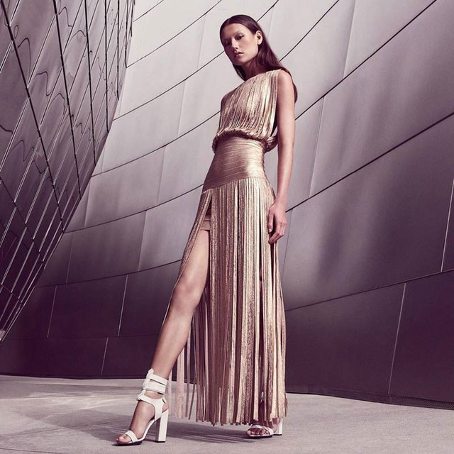 2fc123f6abc4b US $79.52 29% OFF|2017 Women's New Party Fashion Sleeveless Metallic Gold  Tassel Maxi Sexy Rayon Bandage Dress L 049-in Dresses from Women's Clothing  ...