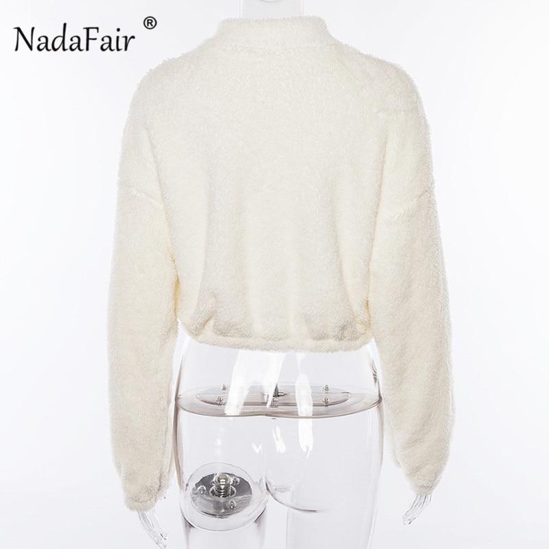 Nadafair Long Sleeve White Cropped Hoodie Women Autumn Winter Pullover Short Sweatshirt Plush Zipper Faux Fur Fluffly Sweatshirt 11