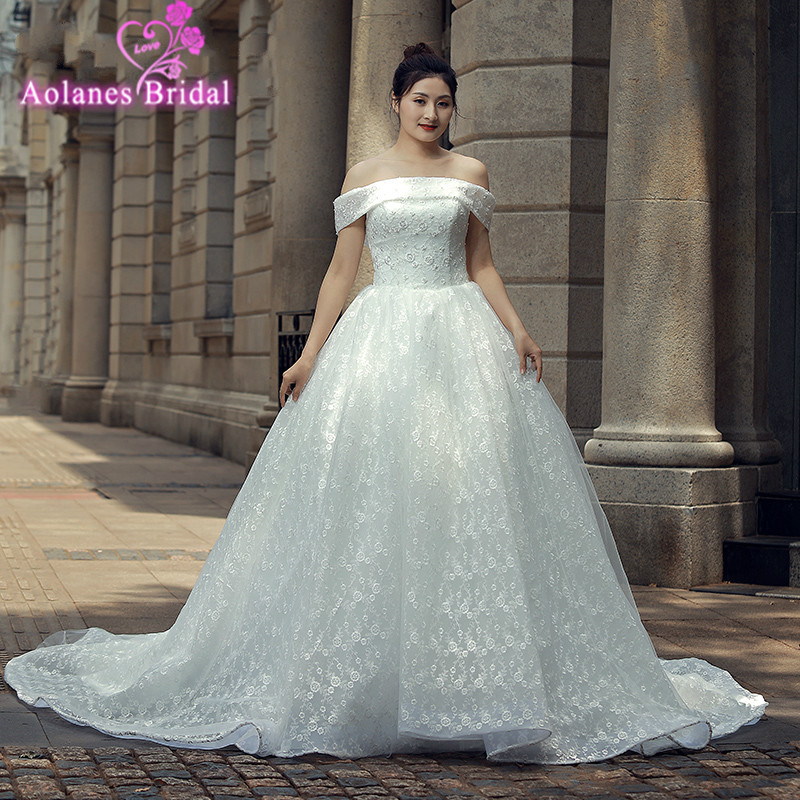 Princess Small Rose Flower Beading Lace Wedding Dress Flower Lace Beading Wedding Dress 100% Real Pictures Bridal Dresses