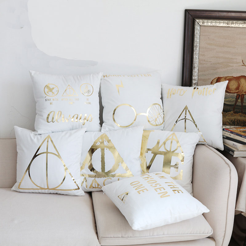 Potter Bronzing Cushions Cover 7 Styles Geometrics Sign Logo Pillows Covers 45X45cm Bedroom Sofa Decoration