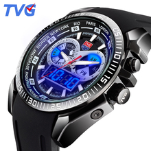 2016 Male Watches Luxury Top Brand TVG New Black Silicone Best designer Men Quartz Watch Dual Display LED Wristwatches relojes