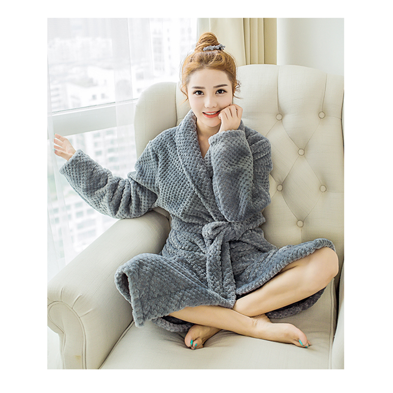 Φ_ΦWomen Coral Fleece Sleepwear Winter Warm Couple Flannel Bathrobe ...