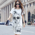 Women's Casual Above Knee Summer Dress 2016 Female White And Black Cotton Sexy Dresses Ladies O Neck Shirt Dress With Character