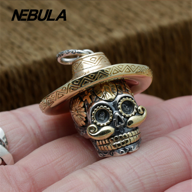 925 Sterling Silver Vintage Locomotive Cross Skull with straw hat Pendant Necklace Jewelry For Men Or Wonmen Fashion Punk