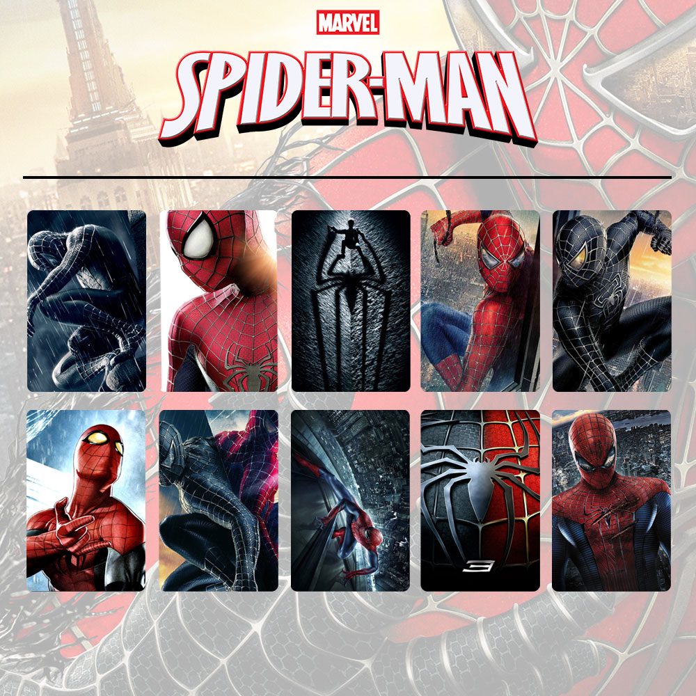 OHCOMICS 10Pcs/set Super Heroes Spiderman Lomo Card Stickers Dull Polish PVC Bank Bus Card Souvenir Sticker DIY Decor Stickers