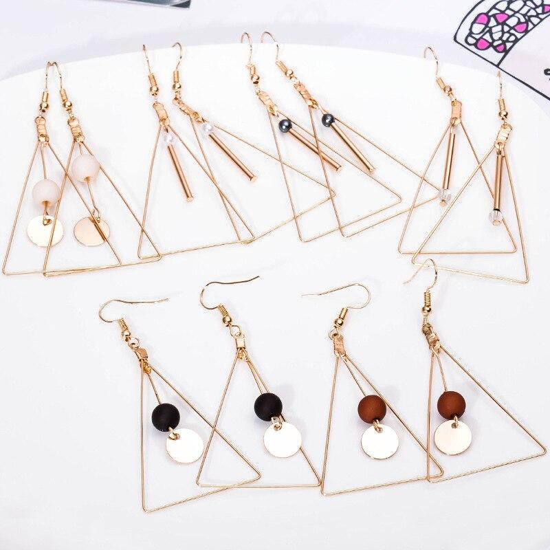 Big Triangle Long Tassel Drop Earrings Statement Double Wooden Beads Dangle Earring Charm Black White Brown Color Ear For Women