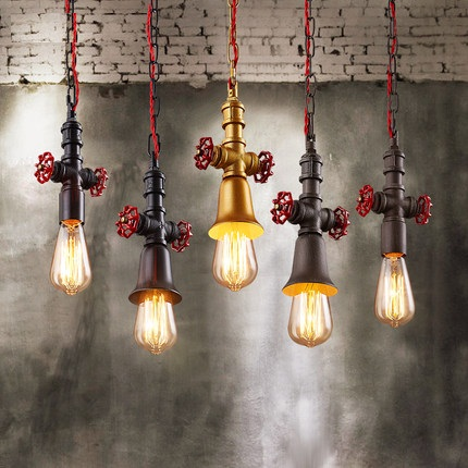 Loft Style Vintage Pendant Light Fixtures Edison Industrial Water Pipe Lamp For Dining Room Hanging Droplight Indoor Lighting iwhd loft style round glass edison pendant light fixtures iron vintage industrial lighting for dining room home hanging lamp